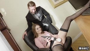 Alice March in sexy stockings playing with sex toys in HD