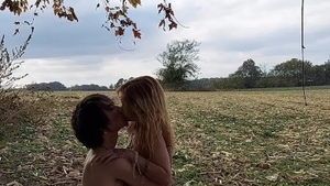 Young french redhead sucking cock on the nature