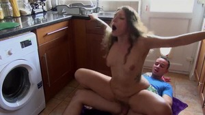 Tattooed stepsister pussy fuck in the kitchen