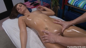 Skinny brunette Lily Carter hardcore pussy eating on the table