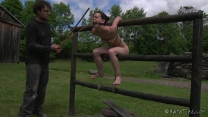 Bondage in public along with small boobs girl