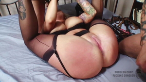 Big tits Angel Vain and Annie Cruz hogtied scene