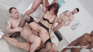 Mature Syren Demer in tight stockings rough gangbang