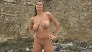 Big boobs european MILF masturbating in public