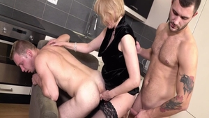 Femdom in company with hottest MILF