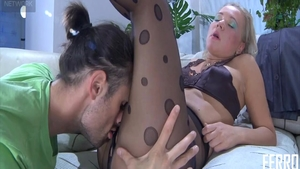 Pussy fucking among super sexy mature in pantyhose