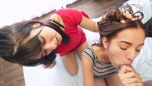Receiving facial accompanied by curly hair spanish teen chick